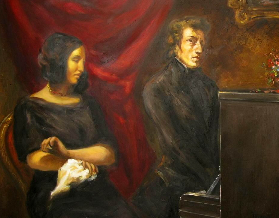 Sand looking over at Chopin, who is glancing at the painter, playing piano.