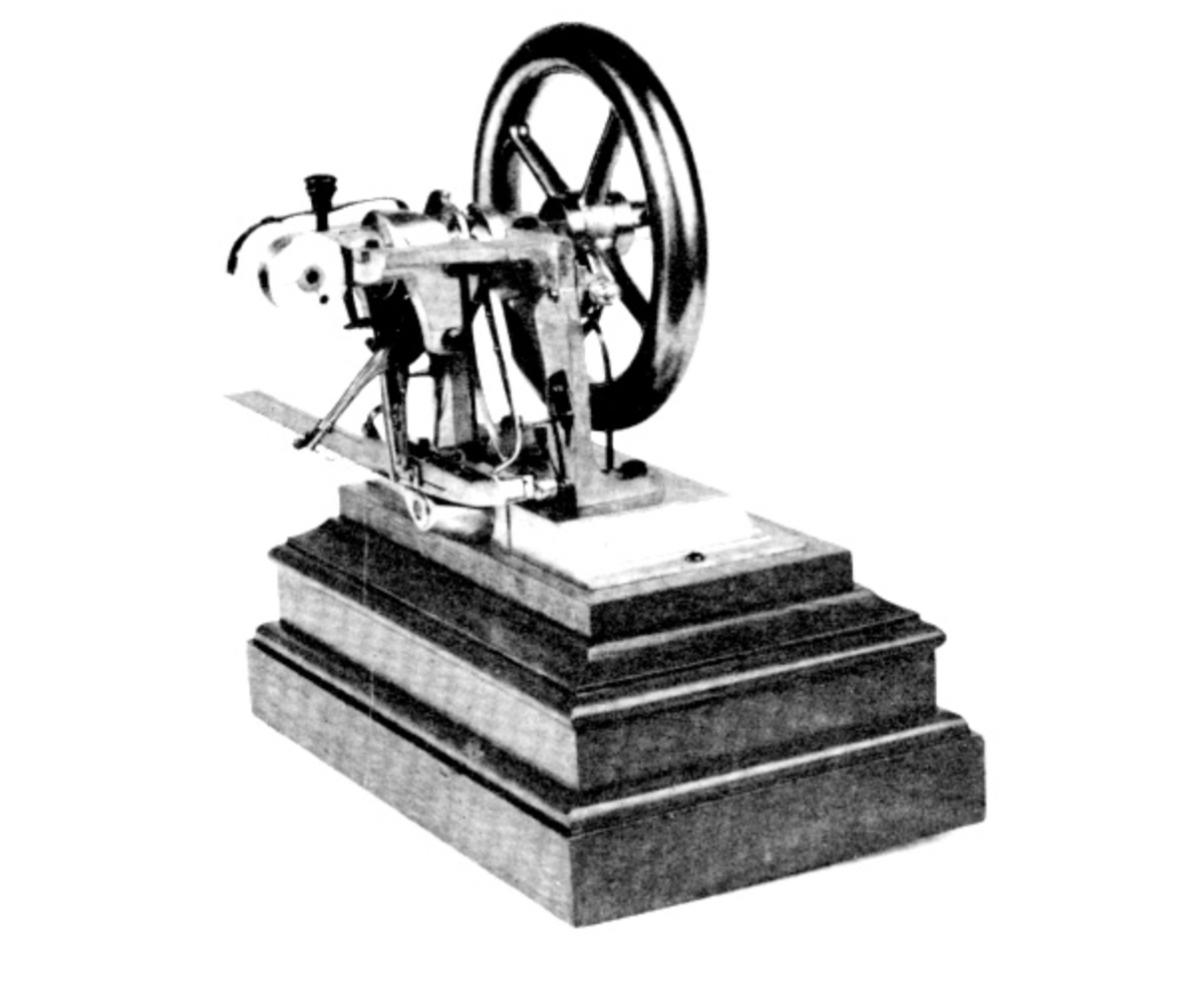 Howe's sewing machine. A wheel and arm, meant to replicate his wife's arm movements.