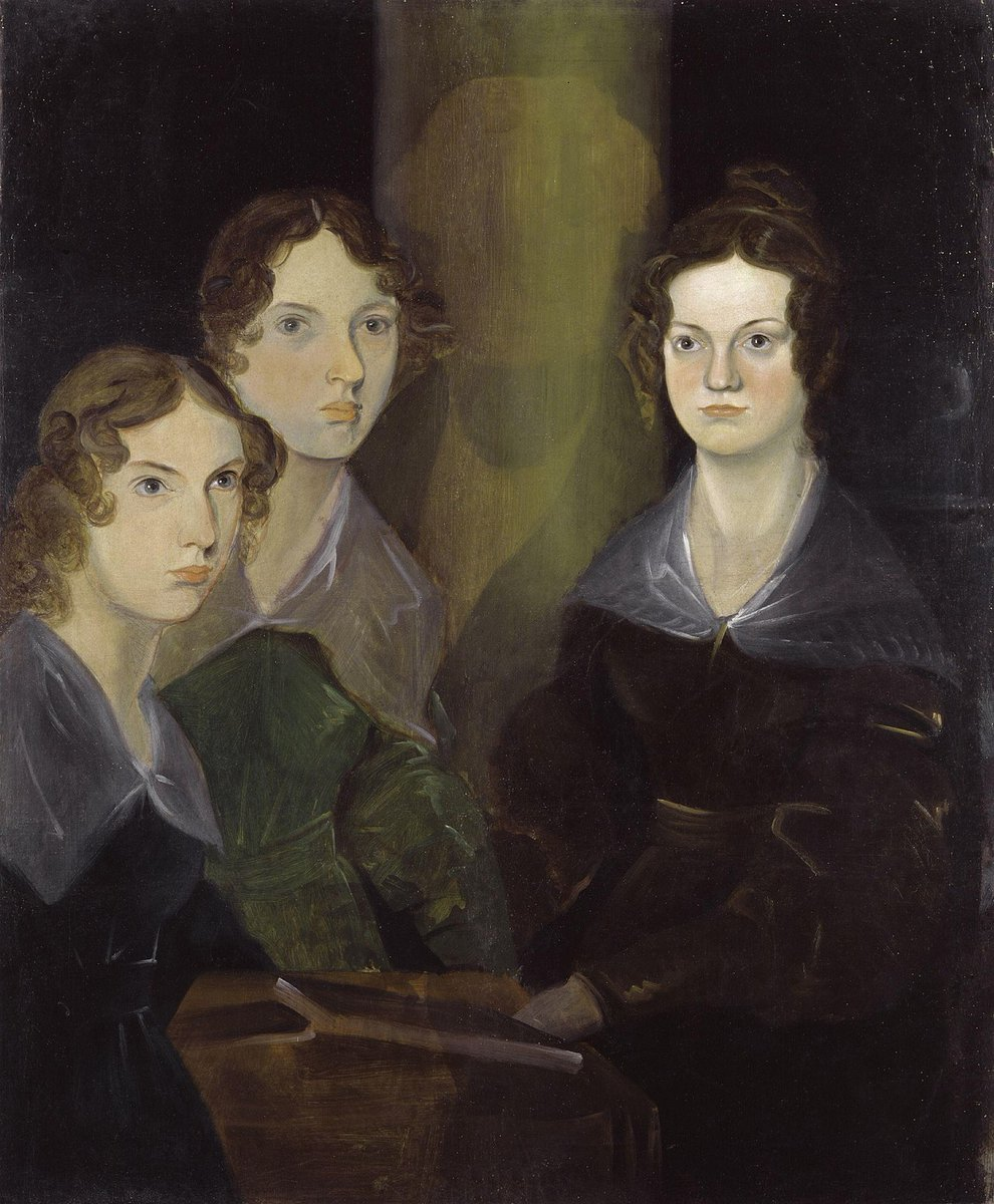Anne, Mary, and Charlotte Brontë. A famous painting of the three sisters, all in period dresses, matching hairstyles, and somber faces.