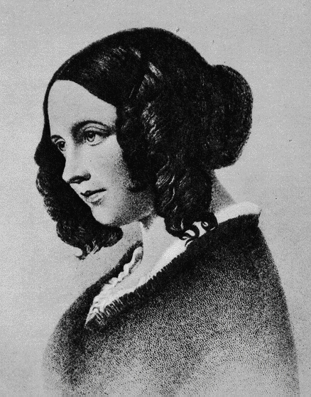 Stipple portrait of young Catherine Dickens. She wears typical Romantic hair, a bun with curls at her sides. She is classically attractive.