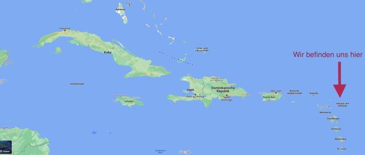 Kartenscreenshot der karibischen Inseln.