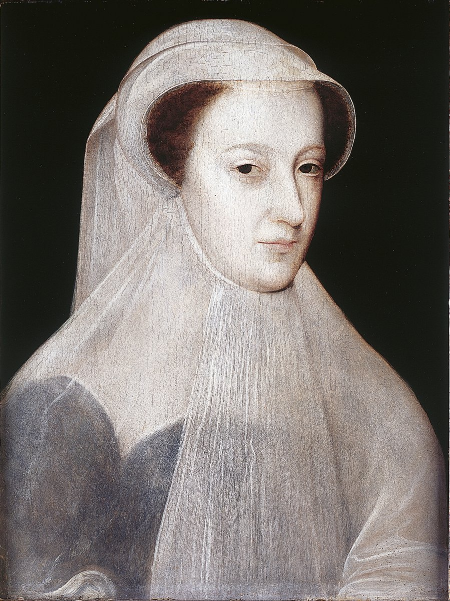 A portrait of Mary Queen of Scots, in a white, pale veil that covers her dress and around her head. It starts at her chin, and is as pale as her face. Her red hair is visible. From the National Gallery.