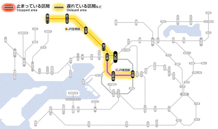 test ツイッターメディア - JR宝塚線:伊丹駅~北伊丹駅間の架線に支障物が付着していたため、確認しました。 このため、JR宝塚線、JR東西線(尼崎から京橋方面)の列車に遅れや運転取り止めがでています。  影響線区 JR東西線 尼崎 から 京橋 まで 遅延  JR宝塚線 大阪 から 新三田 まで 遅延 https://t.co/hEj8CzCP0p