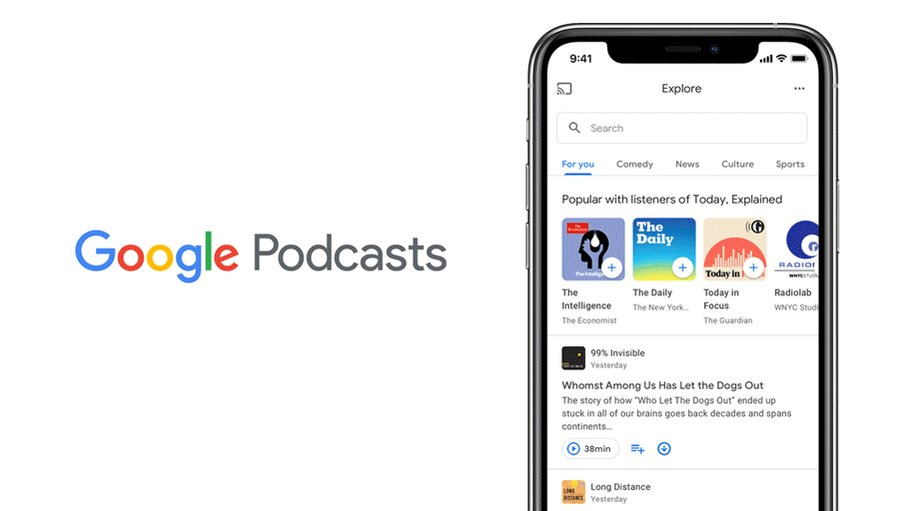 Image for the Tweet beginning: We've redesigned Google Podcasts to