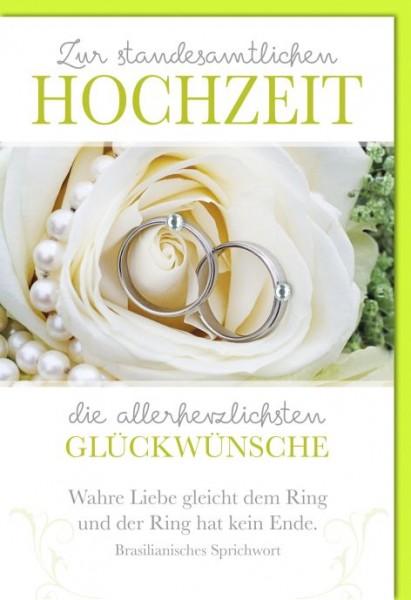 Karte Hochzeit Motiv Standesamt Weiße Rose Mit