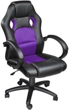 Luxe design bureaustoel racing style paars zwart 401432