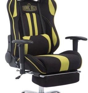 Clp Racing bureaustoel stof LIMIT XL, gaming stoel, max. belasting 150 kg, stoffen bekleding, - zwart/groen met voetsteun