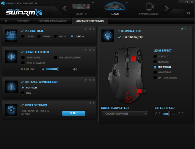 Roccat swarm advanced settings
