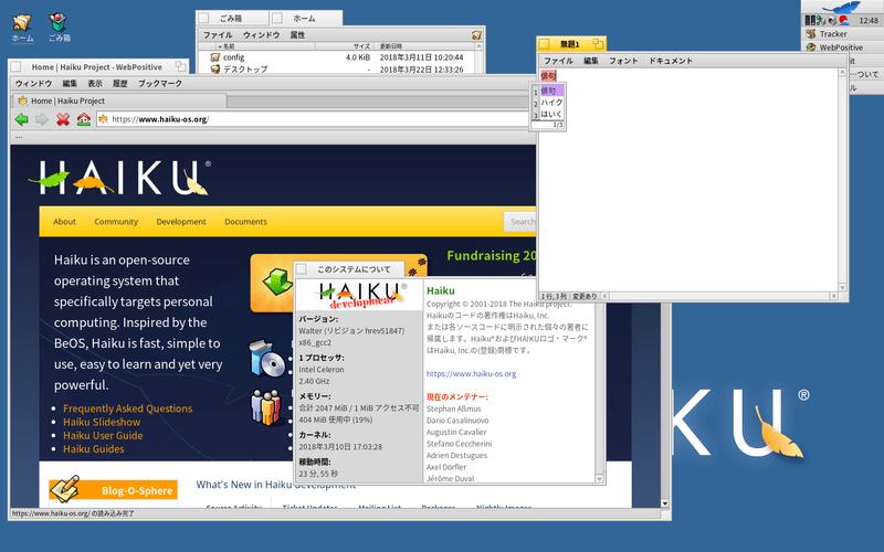 Haiku という BeOS 系 OS 。