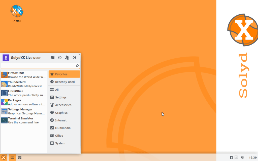 SolydXは軽量なXfce