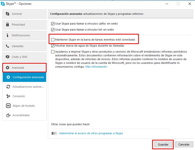 cerrar skype area notificación