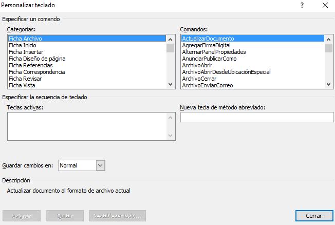 modificar metodo abreviado word