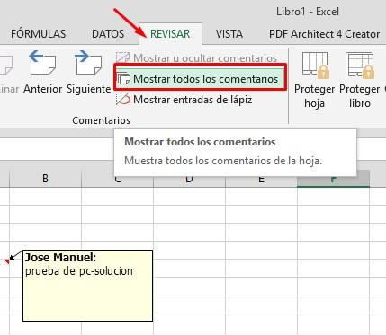 mostrar u ocultar comentarios en Excel