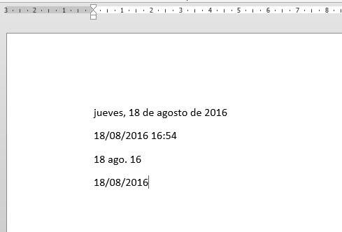 insertar fecha y hora en Word