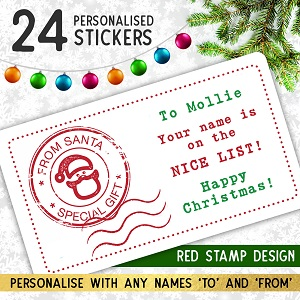 Personalised Christmas Stamp Stickers Red