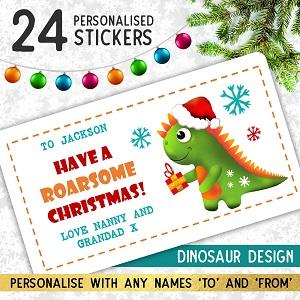 Personalised Dinosaur Christmas Stickers
