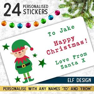 Personalised Elf Christmas Stickers