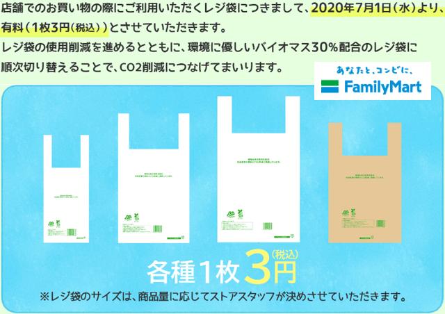 ファミリーマト:全てのサイズ税込み3円