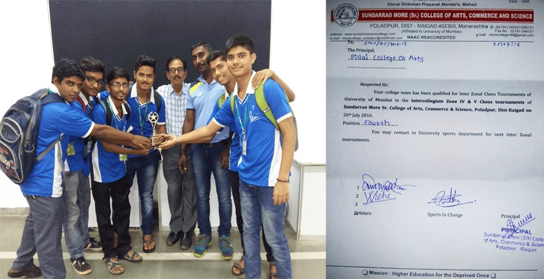 PCACS got 4th position in the Intercollegiate Zone 4 and 5 Chess Tournament of Sundar Rao More College of Arts, Commerce and Science held on 26th July, 2016