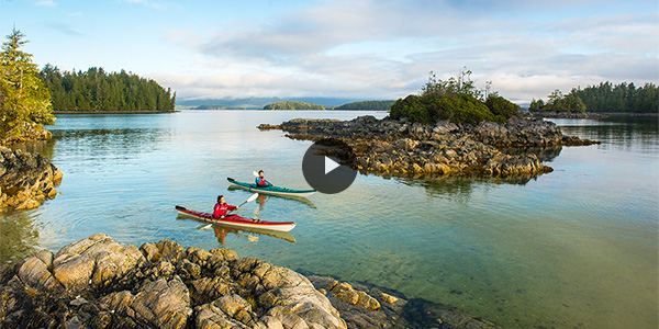 Kayakers paddle through the crystal clear waters among the 'Tiny Group' islands and islets of Pacific Rim National Park Reserve.