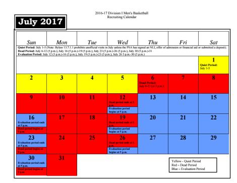July 2017 NCAA Basketball Recruiting Calendar
