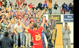 Drew Edwards Calvert Hall student section salute