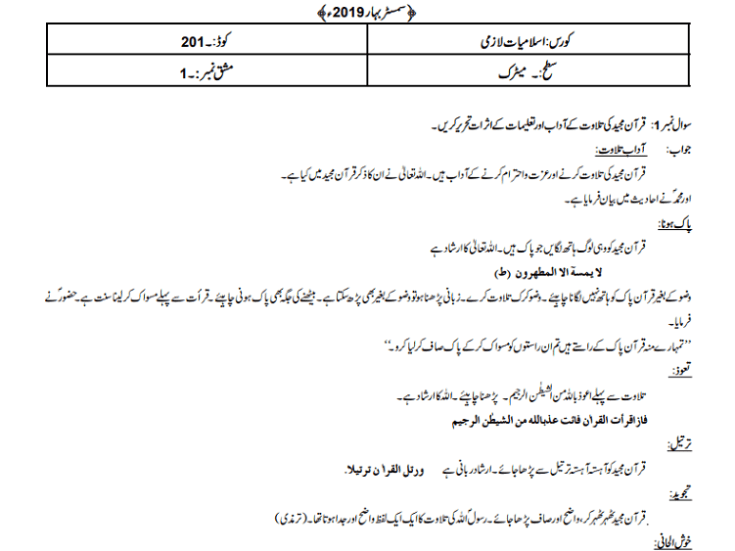 Aiou Solved Assignments code 201 Spring