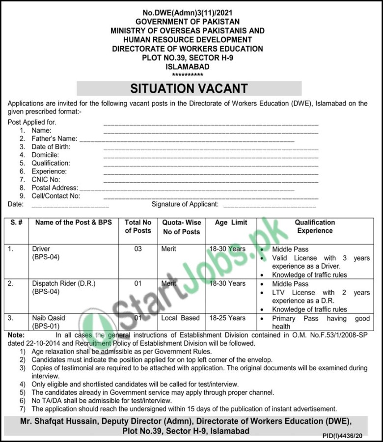 Ministry of Overseas Pakistani and HRD Jobs 2021