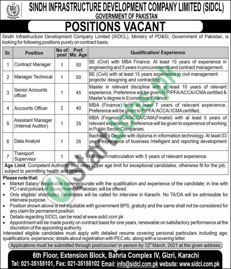 Sindh Infrastructure Development Company SIDCL Jobs 2021