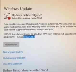Windows Fehler 0x800706b