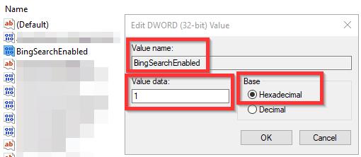 BingSearchEnabled-DWORD-value-op-1-zetten Zoekfunctie Windows 10 werkt niet