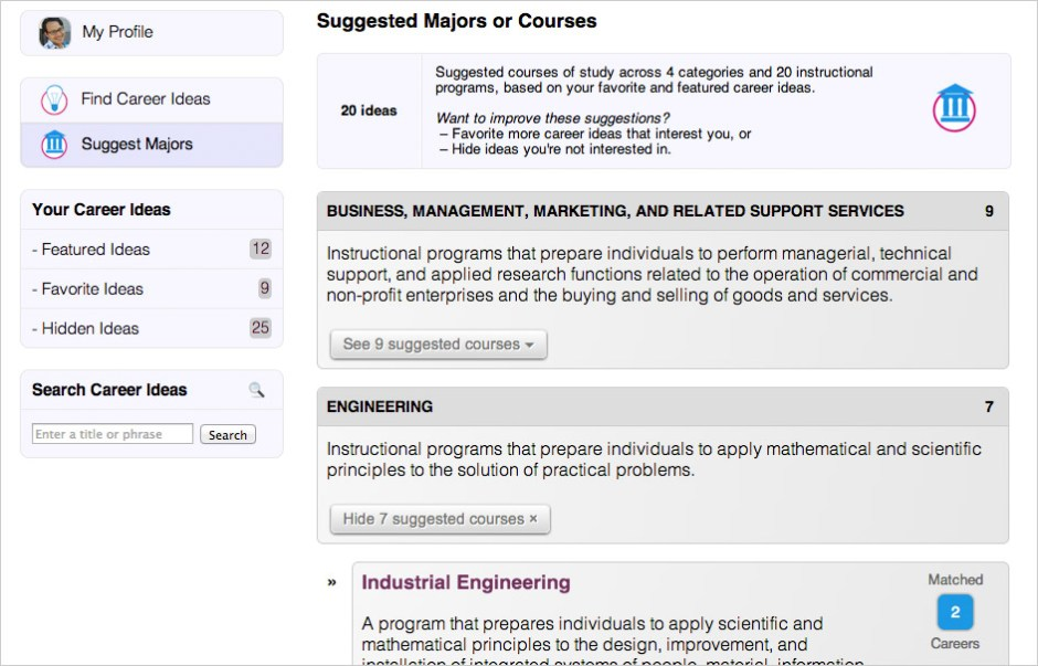 Explore suggested courses of study.