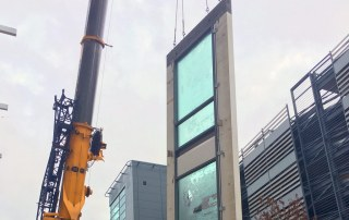 External pre glazed cladding being installed by PCE