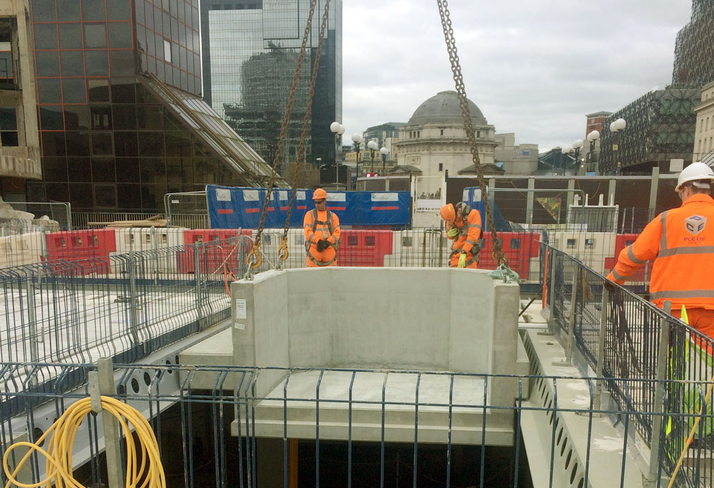 Reinforced precast concrete tree planters installed in Birmingham