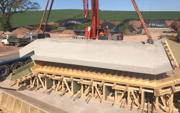 Precast concrete staircase unit being manufactured