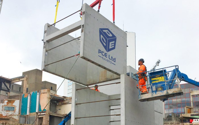 Precast concrete units being erected at Paradise Birmingham