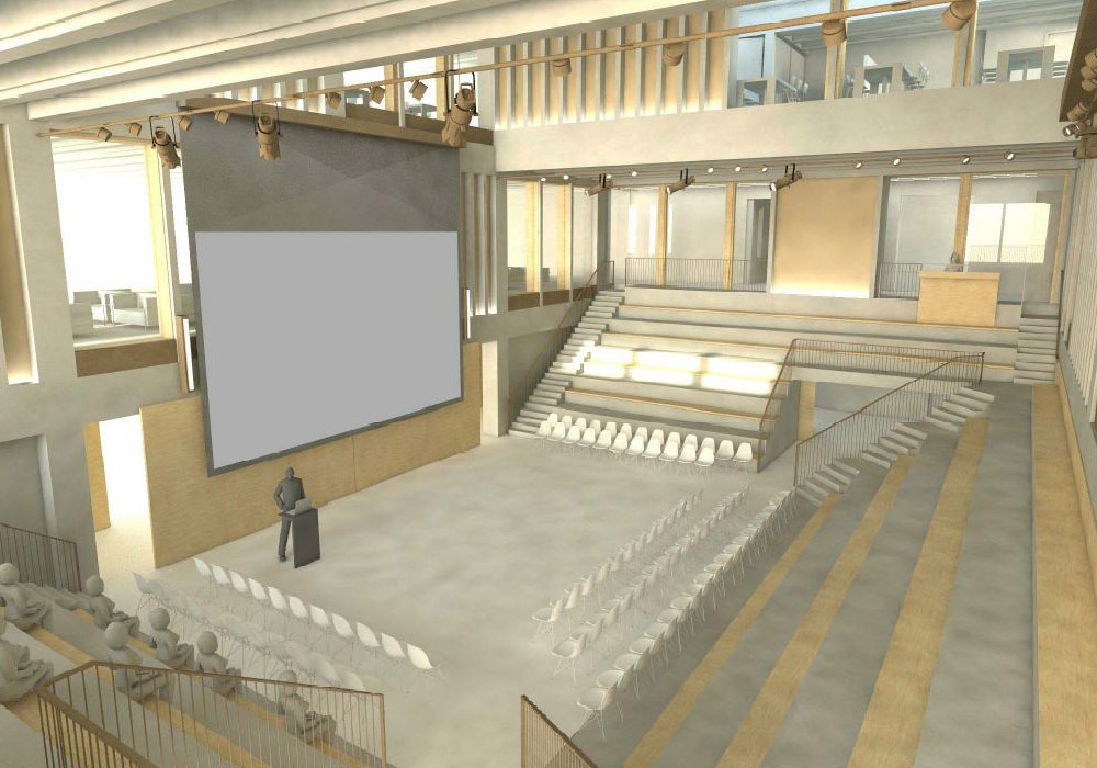 Concept drawing of Kingston University London Town House auditorium