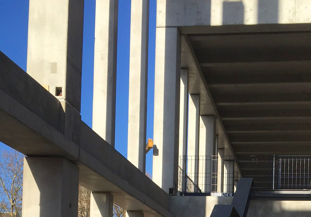 Kingston University update 6 – level 2 vertical precast units and first steel atrium stairs installed