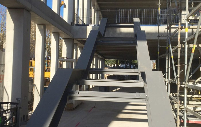 First of the steel atrium stairs to be erected by PCE at Kingston University