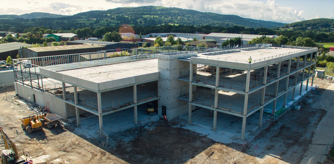 A drone image of PCE's construction of the Eastern Command headquarters in Wrexham