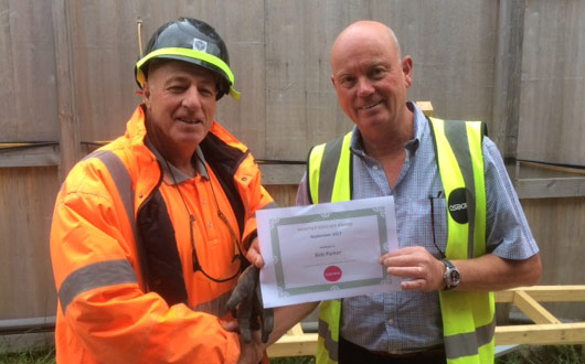 R Parker of PCE Ltd with safety award