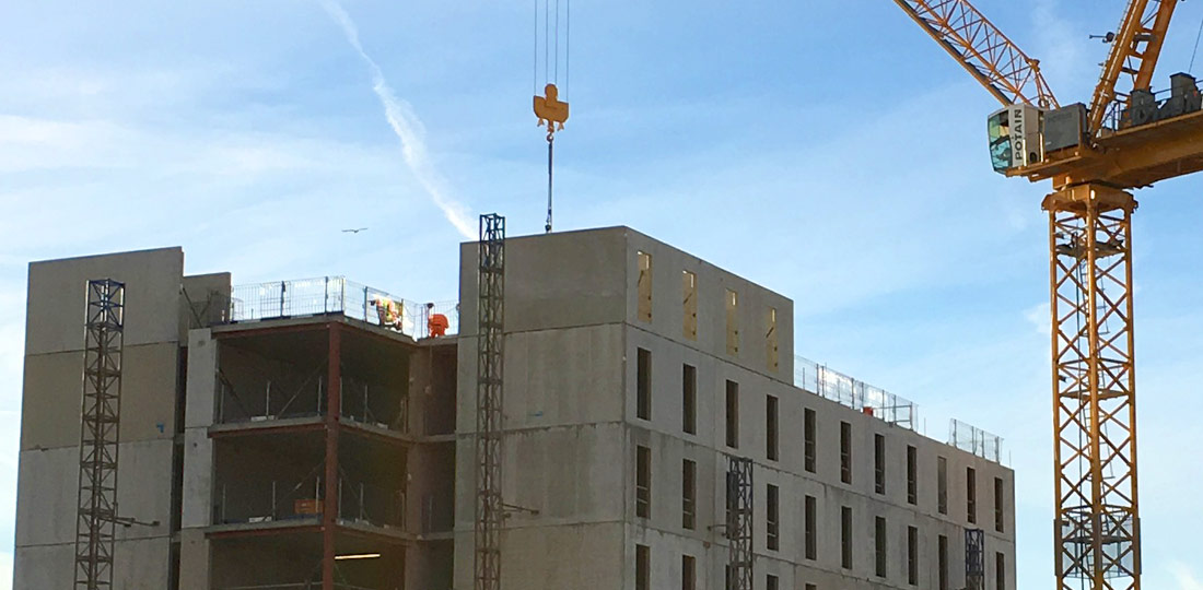 2700 precast components forming three blocks of student accommodation by PCE