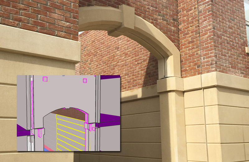 Cross section of PCE's model of well voids in concrete columns for acceptance of archway units dowels