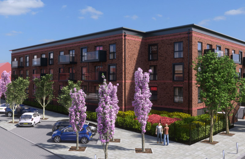 Concept illustration of Lower Broughton residential development Salford in Manchester