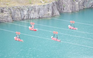 DareDevil Ladies zoom over the lake on their descent in Wales