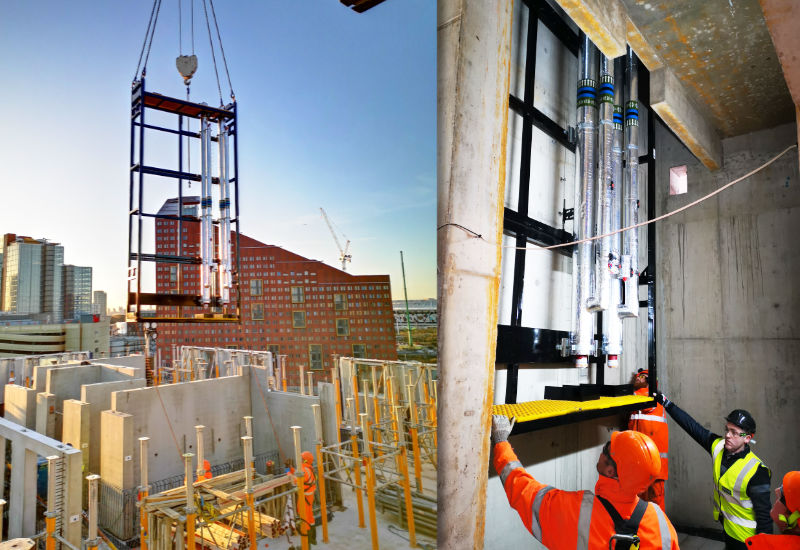 M&E offsite engineered riser being lowered into place