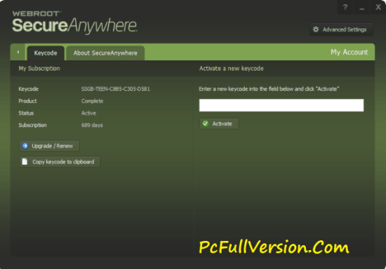 Webroot SecureAnywhere Antivirus Crack 2017 + Serial Key
