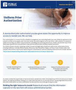 Health Policy News Uniform Prior Authorization fact sheet