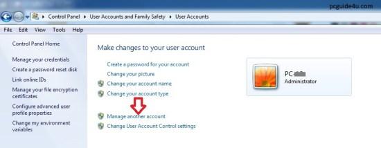create a new user account windows 7