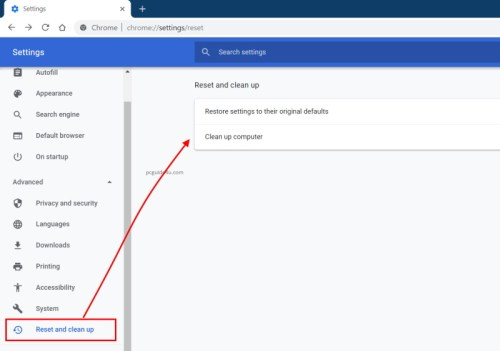 reset chrome to default settings